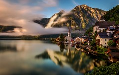 Morning Light (richardbharris300) Tags: hallstatt morning austria salzkammergut travel old town lake sterreich wbpa vally vacation green tree reflection austrian alpes mist fog mountain mountains church longexposure