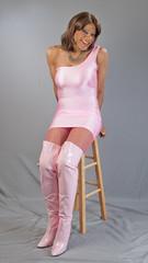 Plenty O' Pink! (kaceycd) Tags: tgirl crossdress transvestite tg wetlook lycra spandex minidress pantyhose fishnethose boots kinkyboots sexyboots thighboots stilettoboots stilettoheels highheels stilettos s