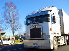 photo by secret squirrel (secret squirrel6) Tags: craigjohnsontruckphotos kenworth cabover close woof kw aerodyne white big trucking mirboonorth visor kmodel