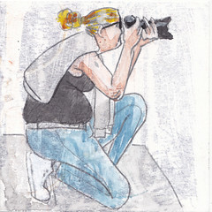 # 250 (06-09-2016) (h e r m a n) Tags: herman illustratie tekening bock oosterhout zwembad 10x10cm 3651tekenevent tegeltje drawing illustration karton carton cardboard vrouw woman camera fotograaf photographer photo foto telelens