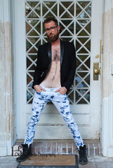 Lars (Levi Smith Photography) Tags: glasses beard jeans boots fashion chest hair hairy man otter cute men mens pose werk model acid washed shirtless