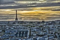 Roofs of Paris (Daniel Schwabe) Tags: sunset architecture roof eiffel tower paris france travel tourism