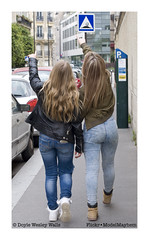 My Guides, One Afternoon, on a Recent Trip to Paris (Doyle Wesley Walls) Tags: sb bb 0167 women girls females jeans denim blondes phone photograph street paris shanna britney doylewesleywalls longhair