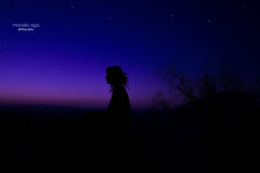 the silence ... (mariola aga) Tags: hills evening sunset night sky twilight bush girl silhouette silence art southmountain arizona dobbinslookout thegalaxy
