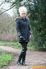 Chloe smoking in leather boots & gloves (Street Boots & Leather) Tags: boots leather leathergloves smoking cigarette blonde
