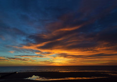 blyth-beach-dawn-approaching (321dustymix) Tags: sun sunrise sunup dawn colour sky skyscape clouds redsky sea seascape blyth beach coast reflection