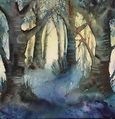 Promenade en bleu (2) (carine hubeaux) Tags: bois bleu promenade arbre aquarelle peinture atmosphre jacinthe