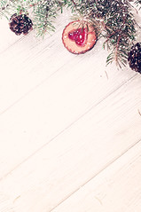 Christmas tree branches on wood background (lyule4ik) Tags: xmas frame background tree wood pine cone branch holiday green winter white christmas spruce nature snow evergreen merry coniferous natural blank festive fir empty border ornament decoration old snowcovered cookie season decorative design vintage berry copy holly tradition space pattern greeting red card snowflake blue isolated new twig year grow