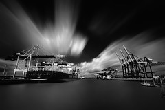 Waltershofer Hafen LE & bw [Explored 2016-09-17] (T.Seifer) Tags: blackandwhite bw blackwhite clouds containerbrcken crane containership d700 deutschland elbe fx germany hamburg hafen harbour haida nikon nikkor nikkor1635 longexposure langzeitbelichtung monochrome ndfilter port wolken photography schwarzweis ship whiteandblack whiteblack weisschwarz weitwinkel