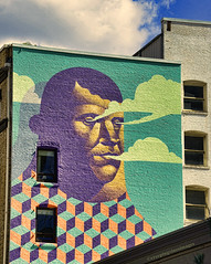 Smoke Gets in Your Eyes (creepingvinesimages - mostly off while I relocate ) Tags: portland oregon murals colors textures windows sky clouds buildings architecture nikon d7000 pse topaz