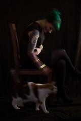Jana & Pixie (Eera Photography) Tags: blackbackground black dark lowkey woman catlady cat inked blur movement 105mm