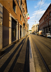 Rome (buddythunder) Tags: europe italy rome wideangle contrast evening sunlight shadows perspective selfie selfportrait faux pavement sidewalk road building sky city urban