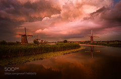 Kinderdijk, Holland (BostonHVAC167) Tags: green holiday love tree happy sunset clouds europe river holland windmills the netherlands beer tulips dutch kinderdijk remo scarfo 500px iso wbpa touristical 500pxtours summer 2016 natural reflection