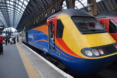 DSC_3285 Kings Cross Railway Station Virgin/Stagecoach coalition took over the East Coast Mainline with a 39 year old train from 1977 borrowed diesel locomotive Class 43 HST # 43058 from East Midlands Trains Virgin has promised new trains by 2018! (photographer695) Tags: kings cross railway station virginstagecoach coalition took over east coast mainline with 39 year old train from 1977 borrowed diesel locomotive class 43 hst 43058 midlands trains virgin has promised new by 2018