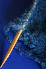 All in a Row - HMM! (suzanne~) Tags: knitting knit wool row knittingneedle blue macro indoor closeup inarow macromondays