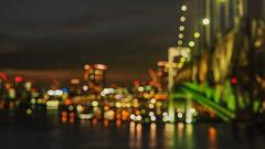 Blurry Nightlights (elenaleong) Tags: rainbowbridge skytreetower tokyo waterfrontlights nightscape bokehlights citylights blurrylights elenaleong shibaura tokyobay