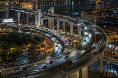 Nightscape of Shanghai traffic at night (HIKARU Pan) Tags: asia china chinese shanghai night nightscape city cityscape 1dx 50l canonef50mmf12lusm eos1dx huangpuriver photography aerialview architecture downtown evening horizontal illuminated landscape noperson outdoors urban