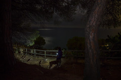 Those nights will not be creepy anymore (bernat.rv) Tags: night lantern linterna luz light path dog sea seaside mar reflejo paseo nocturno walk calella