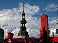 ... (Jean S..) Tags: tower chimney sky clouds roof red white blue outdoor old qubec