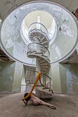 Not Too Far To Go (sadandbeautiful (Sarah)) Tags: me woman female self selfportrait abandoned abandonedhospital psychiatrichospital staircase spiralstaircase