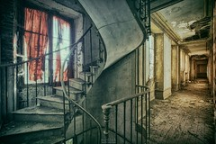 outside my window I see blood red (Szydlak Szk) Tags: derelict decay decayed decaying stairs staircase corridor forgotten forlorn fotografia forsaken urbex urban urbanexploration window red curtains verlassene orte vergiven eerie spooky nostalgia nostalgic vintage szydlak szk hdr