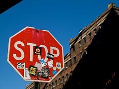 DUMBO-STOP under the bridge. (plutohead) Tags: nyc newyorkcity bridge blue red urban streetart newyork art brooklyn graffiti dumbo stopsign gothamist curbed sfist laist brownstoner