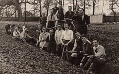 """""""What ho chaps, let's dig a trench!"""" (EastMarple1) Tags: man men field shirt vintage 1930s estate drink pipe tie trench axe jolly pick hairstyle blazer spade parkland"""