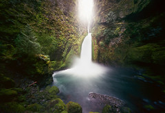 there is wonder in this world (manyfires) Tags: longexposure film nature oregon analog landscape outdoors waterfall moss spring pinhole pacificnorthwest lush pnw columbiarivergorge wahclella wahclellafalls innova6x9pinhole