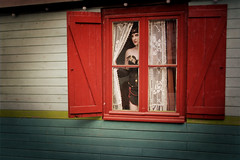 waiting (_wysiwyg_) Tags: 1920s portrait woman window girl vintage costume 1930s waiting circus femme retro trailer caravan roulotte fille fentre cirque younggirl jeunefille attendre circusgirl attrente ourdailychallengegroup1