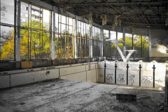 Chernobyl swimming hall (MoraTilTordis) Tags: graffiti ruins radiation ukraine disaster second chernobyl nowater pripyat swimminghall