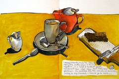 tea with almond bar (Evelyn Bach) Tags: tea teapot table sketch sketchbook stilllife cafe cup penandwatercolour brushpen drawing visualjournal visualdiary