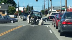 Typical Seattle traffic (MathTeacherGuy) Tags: traffic driving road boat accident oops seattle