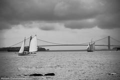 Ocean view from Ellis island (hosam alshanawany) Tags: blackandwhite buildings nikon nikkor nyc newyork ny lightroom lr ocean boats ships clouds bridge ellisisland bw