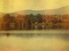 fuji_f100fd_04.09.16_01 (malemonada) Tags: summer latesummer warm sunny serene lake lakeshore tent camping castle texture antique vintage lightleak