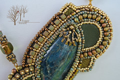 fern's dreams_4 (~Gilven~) Tags: bead beads beading beadembroidery naturalleather necklace pendant japanesebeads jewelry jewelryfindingsbyannachernykh apatite czechbeads blue green gold fern foggyforest forest