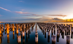 Princes Pier at Dusk (Joe Caputo) Tags: victoria australia melbourne ocean pier portmelbourne princesspier sunset dusk winter water sea wideangle reflection reflections sky landscape seascape
