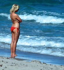 Watching Summer Ebb (Professor Bop) Tags: professorbop drjazz samsunghz35w ocean water beach summer woman female bathingsuit bikini sand seashore