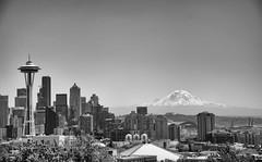 Seattle [Explored #184 - 9/15/16] (Abhijit B Photos) Tags: seattle washington unitedstates us mountrainier downtown kerrypark spaceneedle blackandwhite bw mono monochrome architecture mountain landmark