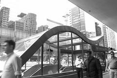 Avenida Paulista (mara.arantes) Tags: street people building station digital monochrome pb architecture reflections urban flickr candid