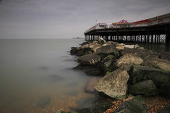 Herne Bay Pier (opshorton) Tags: overcast longexposure seascape newpier oldpier carousel rocks manfrottotripod manfrotto canon7d 7d canon southeast kent hernebay pier water sea beach