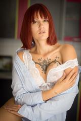 Marion-1 (7red) Tags: lingerie tatoo tatouage model sexy glamour boudoir sonya77 minolta50mmf17 naturallight sweetness douceur rousse redhead