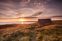 The Fisherman's Hut - (EXPLORED) (macdad1948) Tags: seaweedhut hut fishermanshut freshwaterbaywest combemartin pembrokeshire sunset coast sea wales