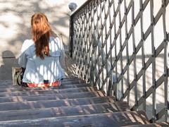 Red hair (Letua) Tags: chica escalera espaldas girl metal mujer pelirroja persona portrait redhair retrato robado uno