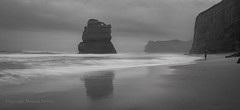Contemplation (Howard Ferrier) Tags: oceania victoria gibsonsteps portcampbellnp panorama mist clouds southernocean haze reflection waves beach ocean monochrome landmass pink island stack southwest twelveapostles coast cliff australia princetown au