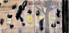 sie waren berall in der Stadt, Tauben. Ihre Scheie war tzend. Warum konnten die stdtischen Betriebe nicht besser auf das ffentliche Eigentum aufpassen (raumoberbayern) Tags: sketchbook skizzenbuch tram munich mnchen bus strasenbahn herbst winter fall pencil bleistift paper papier robbbilder stadt city landschaft landscape rot red
