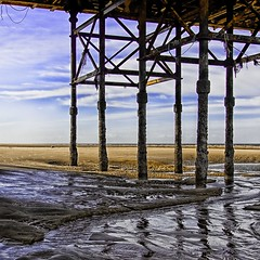 barnacle pier (peterbutlerimages) Tags: blackpool uk coast pier iron tide sand pillars architecture sigma sigma18250 canonuk canon600d lightroom3