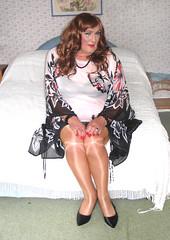 Colskimpytop-002 (fionaxxcd) Tags: crossdresser m2f mtf transvestite trannie tranny wolford tights pantyhose bra upskirt stilettoes longhair rednails lipstick