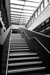 The K in Stockwell St (marktmcn) Tags: university greenwich stockwell street building staircase heneghan peng architects stirling architecture prize shortlistee steps stairs handrails sky light skylight interior inside k blackandwhite monochrome dsc rx100