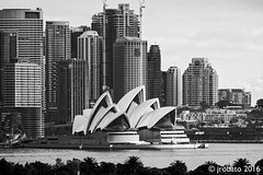 Sydney CBD Cityscape (orgazmo) Tags: fuji fujifilm fujix fujinon xf55200mmf3548ois xpro2 sydney sydneyharbour sydneyoperahouse operahouse sydneycbd australia nsw newsouthwales downunder cityscapes landscapes buildings structures blackwhite monochrome