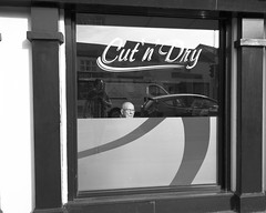 Untitled (Alistair Prentice.) Tags: street photography bald man hairdressers humour fun prentice pentax k5